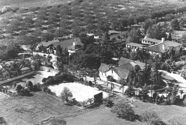 Aerial view of the Workman-Temple homestead