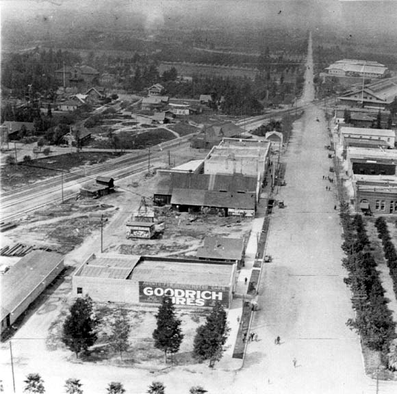 Aerial view showing San Dimas from San Dimas Avenue, looking west on Bonita Avenue