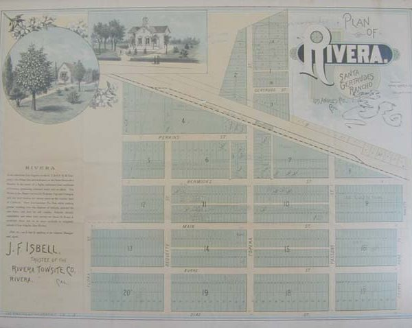 Real estate brochure showing plan of the townsite of Rivera