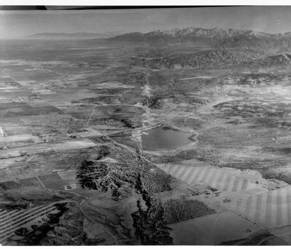 Aerial view of San Andreas fault line from just west of the Palmdale Reservoir to Big Pine