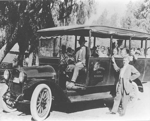 School bus in Claremont, c. 1920