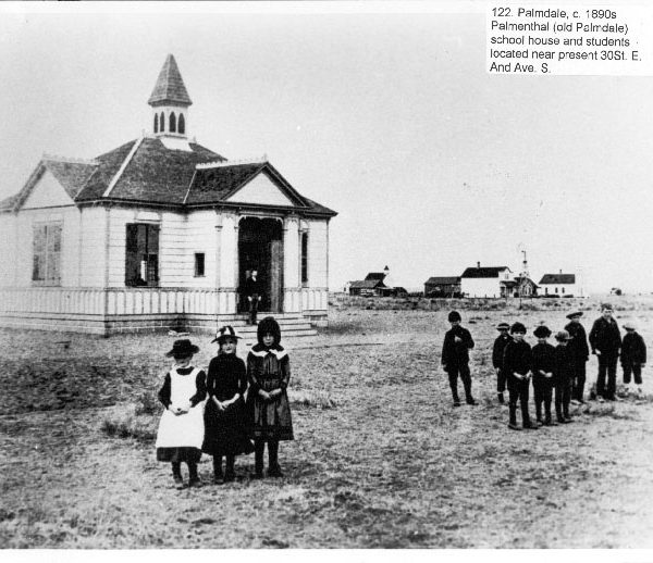 The Palmenthal schoolhouse and students in old Palmdale