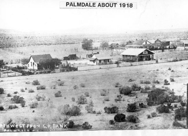 Palmdale looking northwest from the railroad water tank toward houses on Pacific Avenue (6th Street East) and beyond