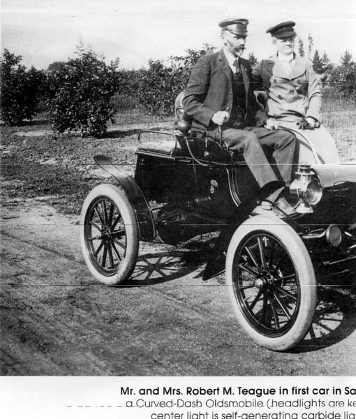 Mr. and Mrs. Robert M. Teague in the first car in San Dimas