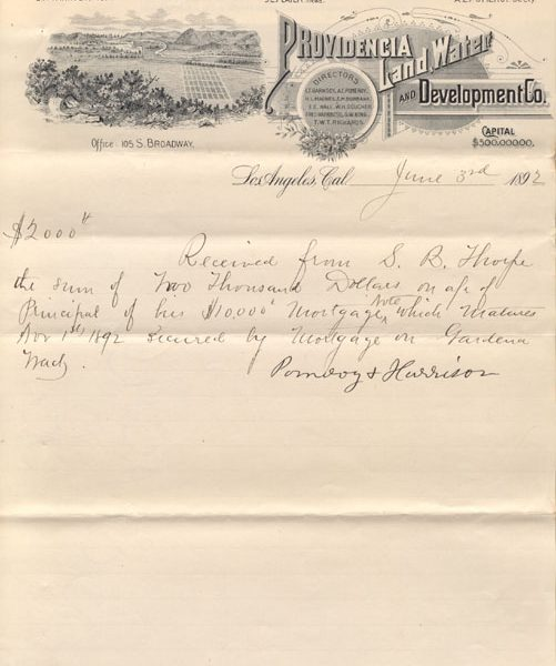 Receipt documenting a mortgage payment on Gardena land by S. B. Thorpe