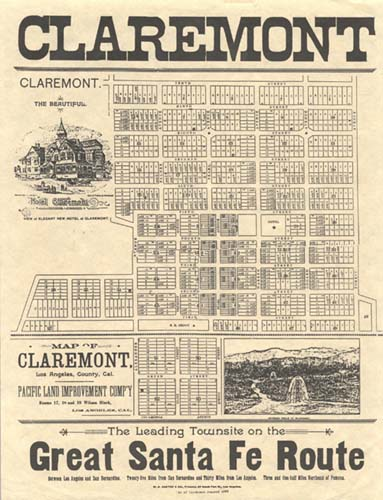 Map of Claremont townsite in real estate brochure, 1888