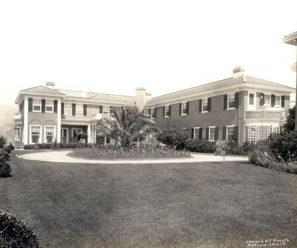 Front garden and façade of Mt. Ada, the home of William Wrigley, Jr., 1930s
