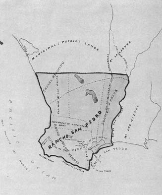 Map showing the original area of Rancho San Pedro