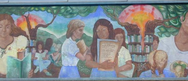 Mural on outside wall of the Anthony Quinn Library facing Cesar Chavez Avenue (left half).