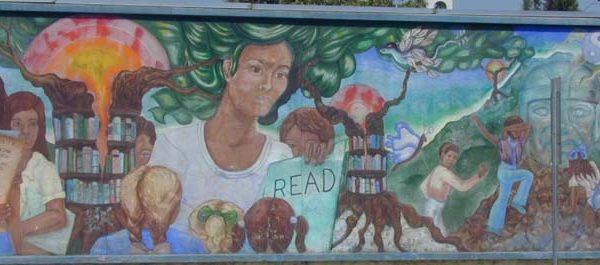 Mural on outside wall of the Anthony Quinn Library facing Cesar Chavez Avenue (right half).