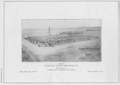 Drawing of National Paper Company factory in South Gate