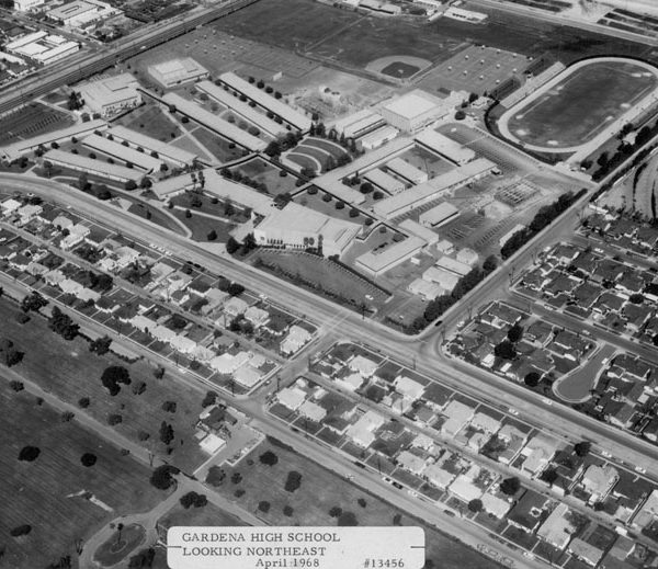 Aerial view of Gardena High School, looking northeast