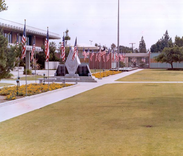 Gardena Civic Center with flags