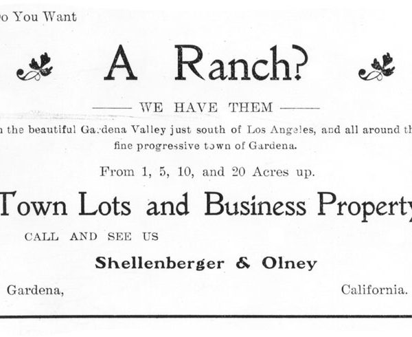 Real estate advertisement concerning Gardena property and printed in the 'Gardena Reporter.'