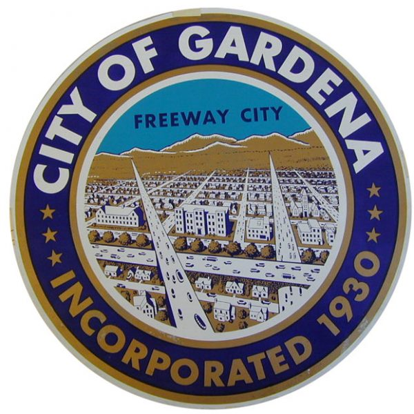 Gardena city seal bearing the city logo 'Freeway City.'