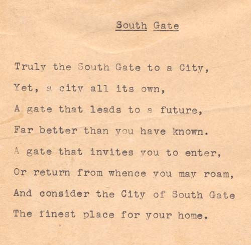 Poem proclaiming virtues of South Gate