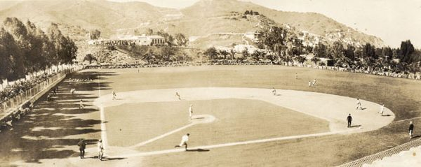 Chicago Cubs training on the baseball field in Avalon Canyon, c. 1930