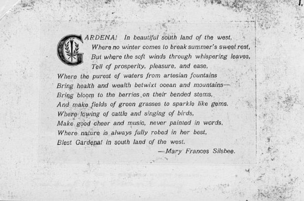 Poem about Gardena printed in a pamphlet advertising the advantages of the area