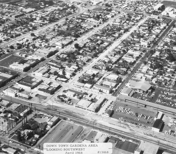 Aerial view of downtown Gardena, looking southwest