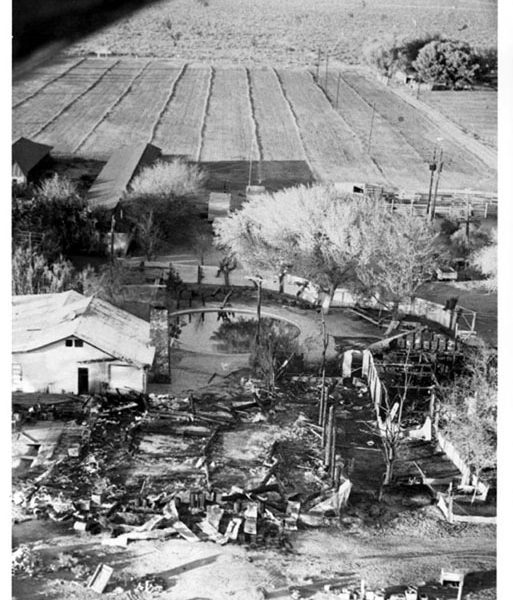 Pancho Barnes's Rancho De Oro after it burned