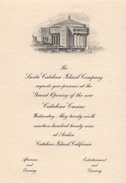 Inside of invitation to opening of the Casino on May 29, 1929 containing an engraving of the Casino.