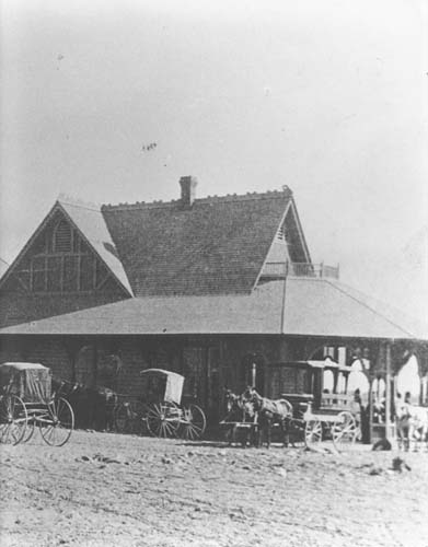 Original Santa Fe Depot in Claremont, c. 1889