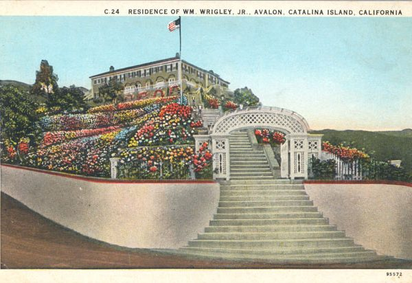Front steps, flower beds, and Mt. Ada, the home of William Wrigley in Avalon, c. 1930