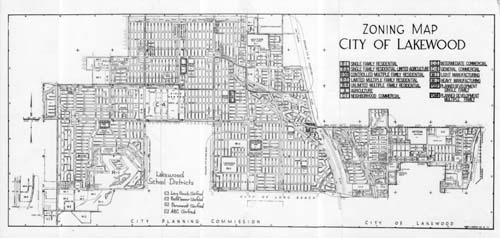 Zoning map showing City of Lakewood zoning districts