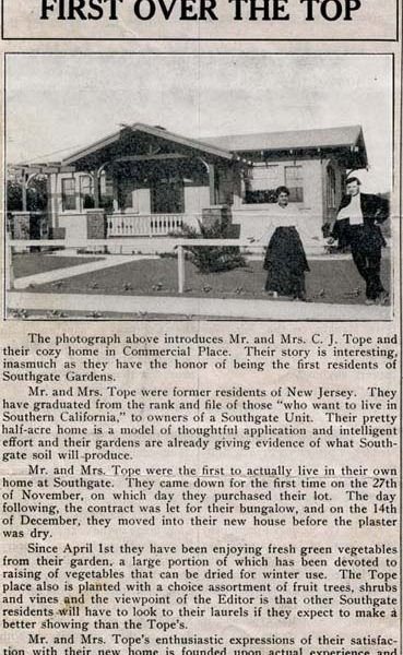 Back page of the 'South Gate Gardener' showing the first residents of South Gate