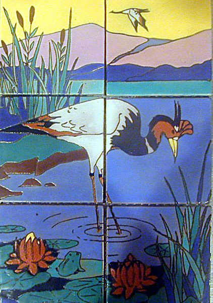 Catalina Island pottery - tiles depicting egret, c. 1930s