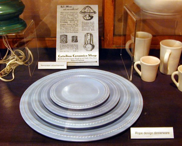 Catalina Island pottery - blue dinnerware in rope design (plates), c. 1930s