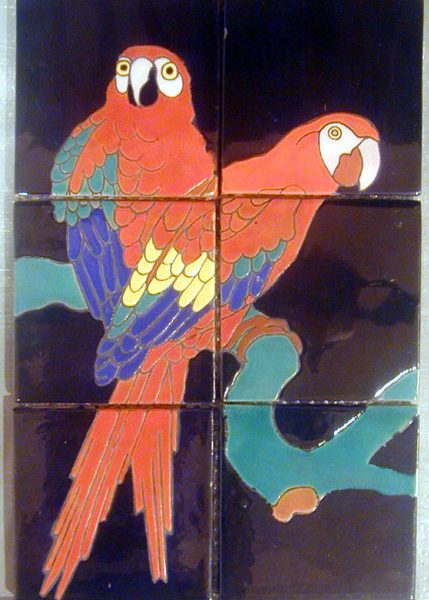 Catalina Island pottery - tiles depicting two parrots on a branch, c. 1930s