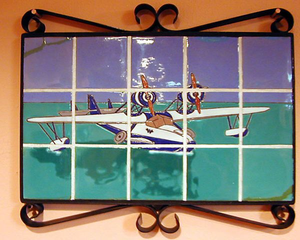 Catalina Island pottery - framed tile image depicting a sea plane, c. 1930s