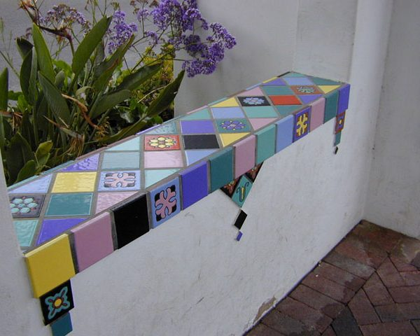 Tile mosaic in archway over walkway to Casino, the 'Via Casino,' 2000