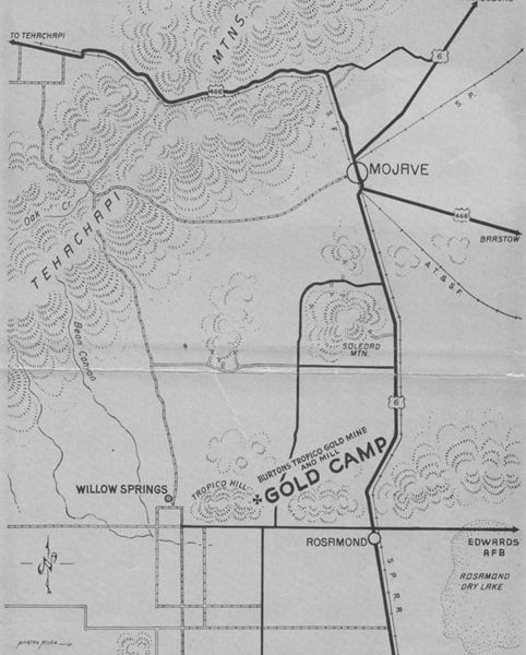 Map showing the Tropico Mine in Rosamond