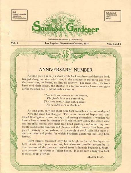 Front page of the 'South Gate Gardener' anniversary issue