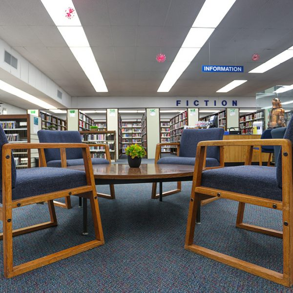 reading area in Anthony Quinn Library
