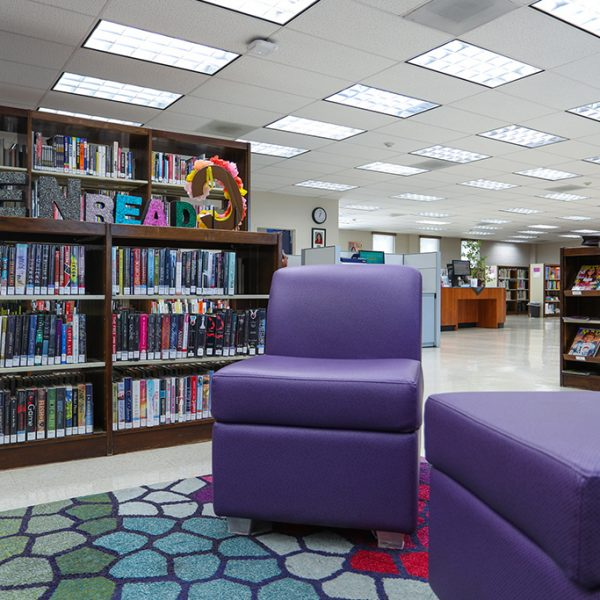 Chet Holifield Library purple reading chairs
