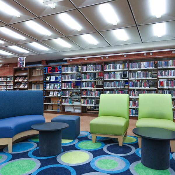 sitting area in Angelo M Lacoboni Library