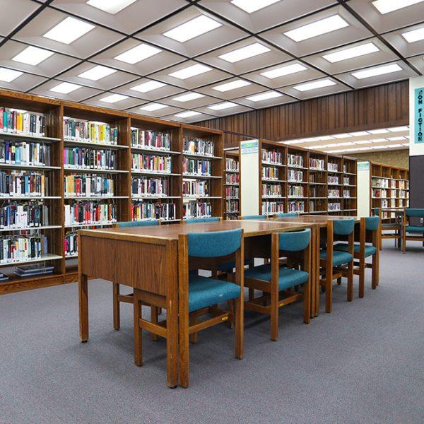 Clifton M Brakenseik Library reading area