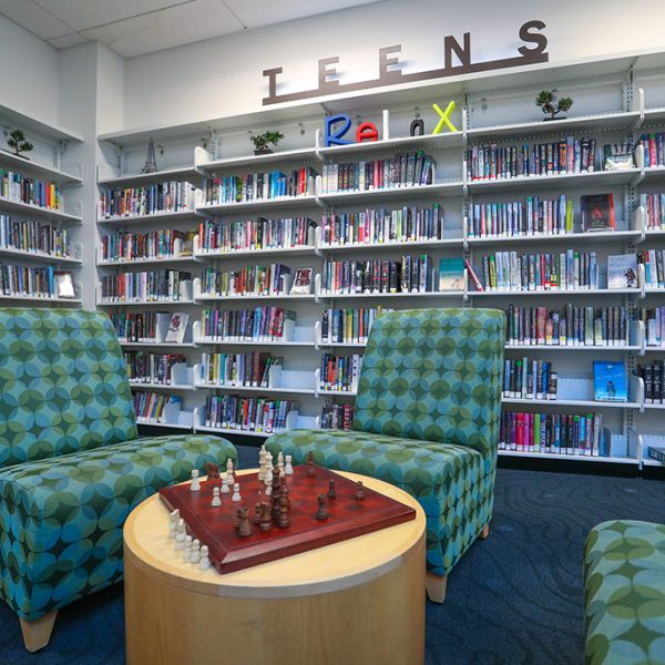Malibu library sitting area