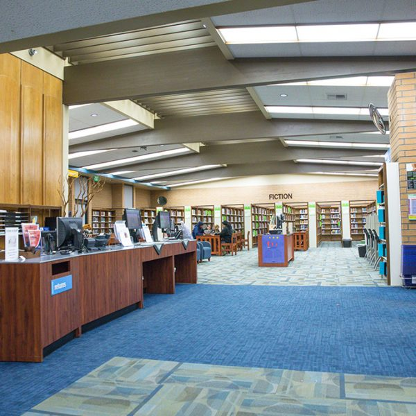 Woodcrest Library reception desk