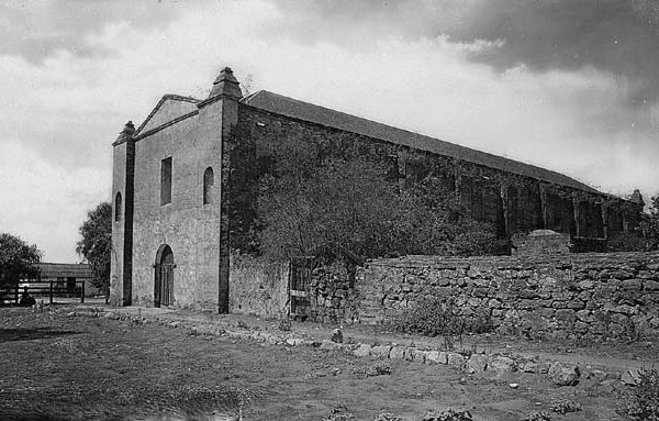 San Gabriel Mission from east, 1886