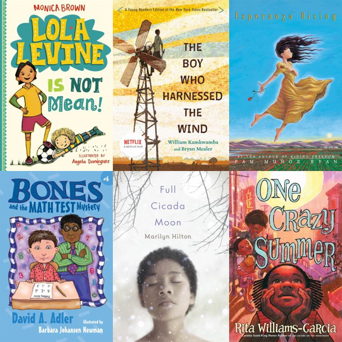 six kids book covers collage