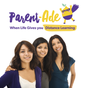 Adult female and teenagers with Parent-Ade logo